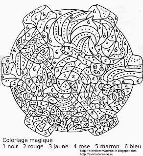 Maternelle coloriage magique une sorci re sur son balai - Coloriage magique son ...