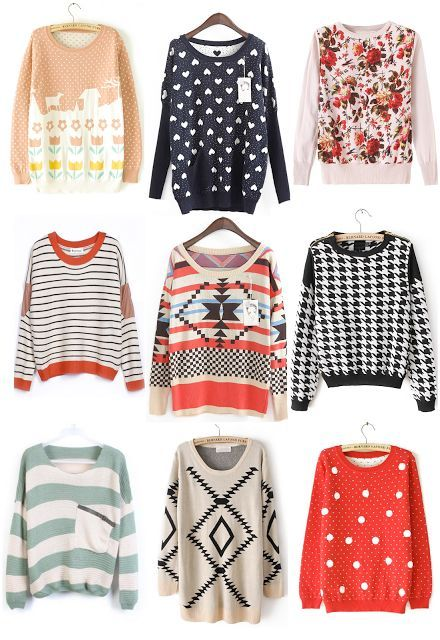 sweaters for $35 or less. I LOVE that striped one with the elbow patches, and oh that houndstooth