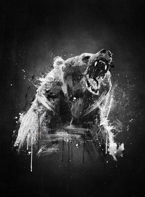 bear cool painting wildlife angry fan black white brush Animals