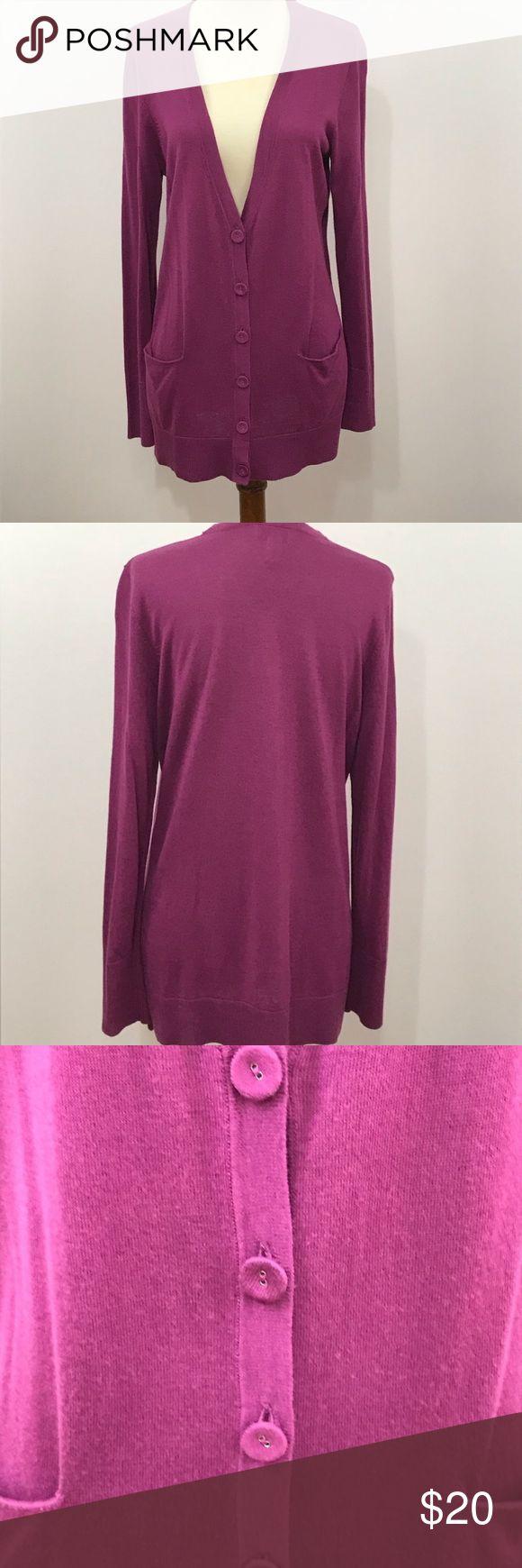 Ann Taylor Loft cardigan purple large petite work Ann Taylor Loft cardigan pocke…