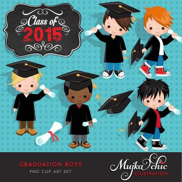 Litle Boys Graduation Clipart Instant Download Graduation graphics by mujka on Etsy