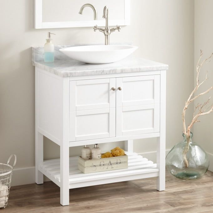 30 Everett Vessel Sink Vanity White Vessel Sink Vanity Bathroom Vanity White Vanity Bathroom