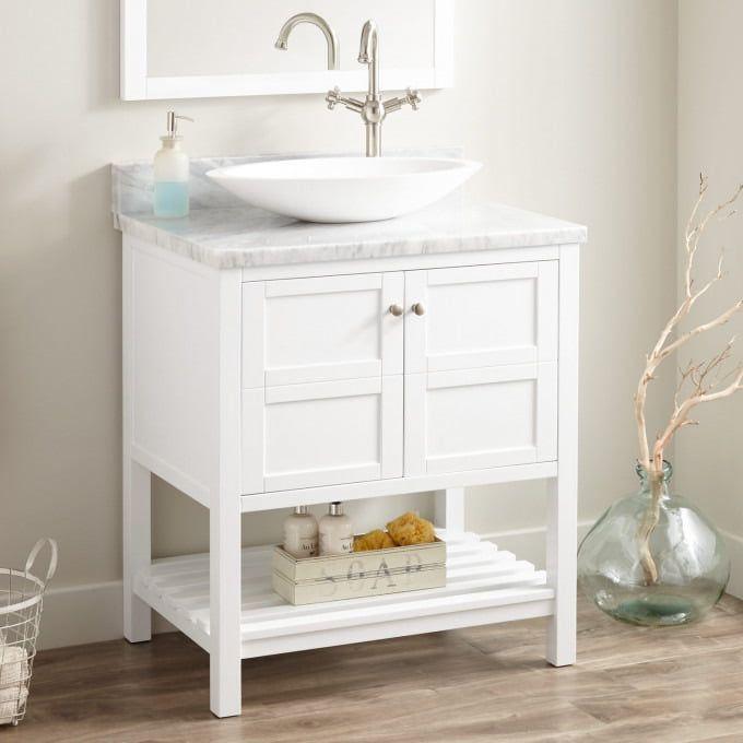 30 everett vessel sink vanity white