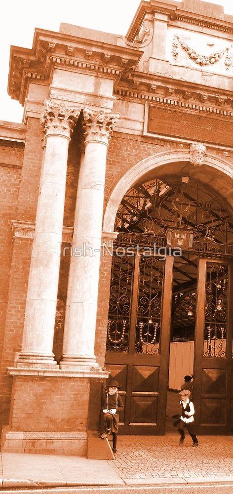 The Market Boys print. #sepia #old #dublin #city #irish #ireland #dublincentenary2016 #victorian #vintage #nostalgia #boys #children #dublinfruitmarket #market #doors #entrance #visitdublin #discoverireland #buildings #architecture #dubliners #childhood #friends