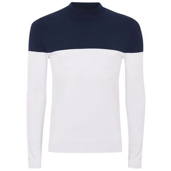 TOPMAN Navy And White Turtle Neck Jumper (130 BRL) ❤ liked on Polyvore featuring men's fashion, men's clothing, men's sweaters, men's polo neck sweaters, mens turtleneck sweater and mens slim fit sweaters