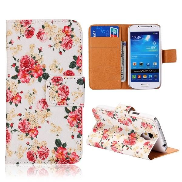Rozen design wit bookcase voor Samsung Galaxy S4 mini