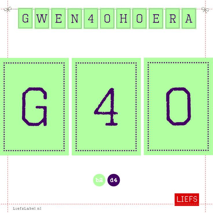 Gwen 40 Hoera ♡ Feestje ♡ Thema Sjors ♡ Maak ook je eigen slinger! www.LiefsLabel.nl