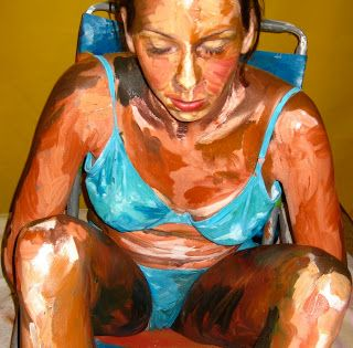 Artist Alexa Meade #art #painting #portrait #female #body painting #installation
