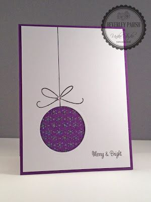 handmade Christmas card from Uniko Studio ... clean and simple mod look ... purple and white ... negative space circle ornament with stamped string ... fun card!!