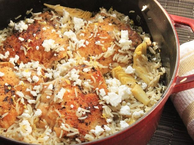 Greek-Style Rice Pilaf With Chicken Thighs | Recipe