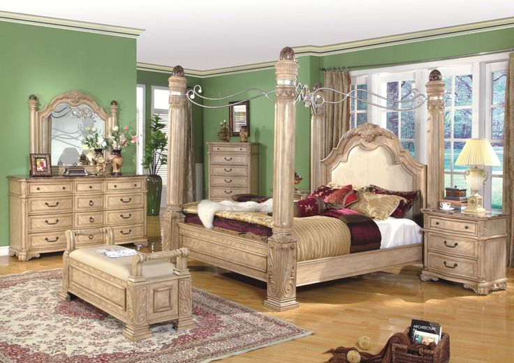 A M B  Furniture   Design    Bedroom furniture    Bedroom Sets    Wood Bed  Sets    4 poster bed sets    5 pc Mandallay collection antique white woo. A M B  Furniture   Design    Bedroom furniture    Bedroom Sets
