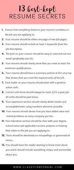 13 Best-Kept Resume Secrets