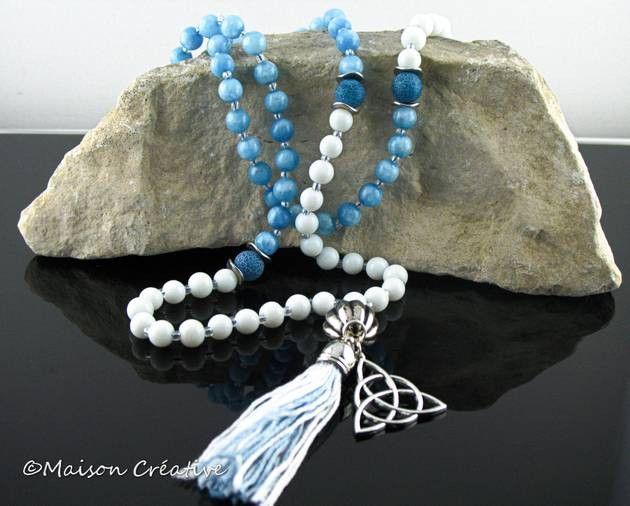 Ketten lang - Mala Buddha Kette Armband Glas und Achat Perlen - ein Designerstück von MaisonCreative bei DaWanda
