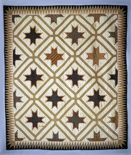 Feathered Star Pierced Quilt, 1825-1850 by Rachel Burr, daughter of Samuel Burr and Sibyl Scudder Burr of Massachusetts, was born March 3, 1788. She married Samuel Corwin of Orange County, New York, October 14, 1809. They had four children. Needlework examples by one of their daughters, Celia, are also in the Collection. Rachel Burr Corwin died March 14, 1849, in Orange County, New York.