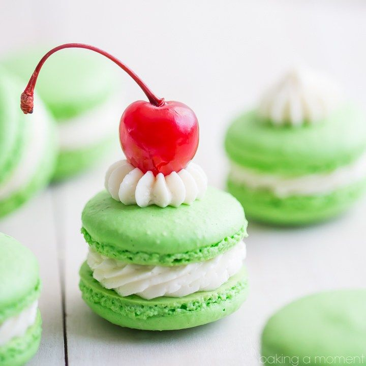 A fun and festive macaron, all decked out in St. Patrick's Day green!  These minty treats will remind you of your favorite seasonal fast food treat: the Shamrock Shake!  The countdown is on f…
