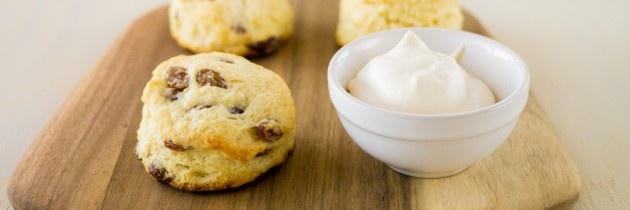 Classic Raisin Scones with Mock Devonshire Cream Recipe | Cook . Snap ...