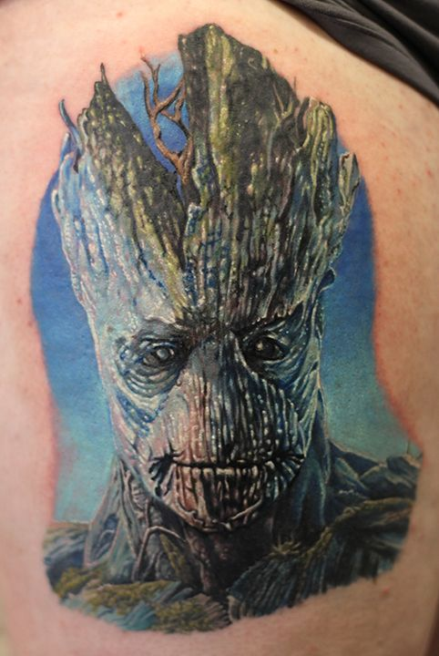 Groot By Mat Valles Inkedmagazine Movie Tattoos Groot