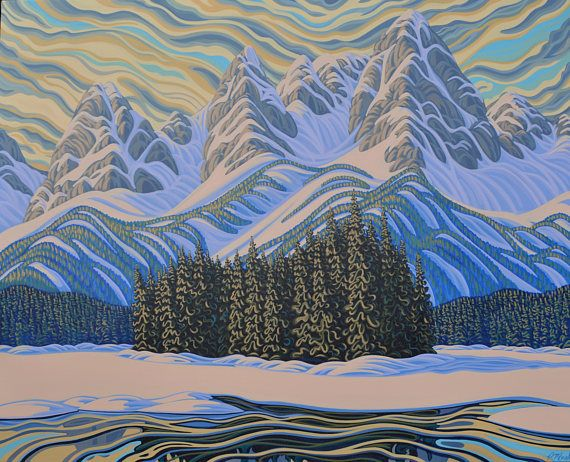 Island Lake 48X60 Original Painting Canadian Artist Ready