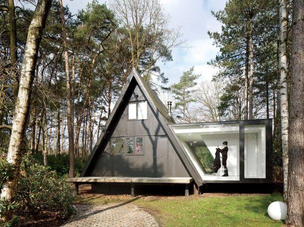 Skleněná přístavba v belgickém lese. Design: dmvA.