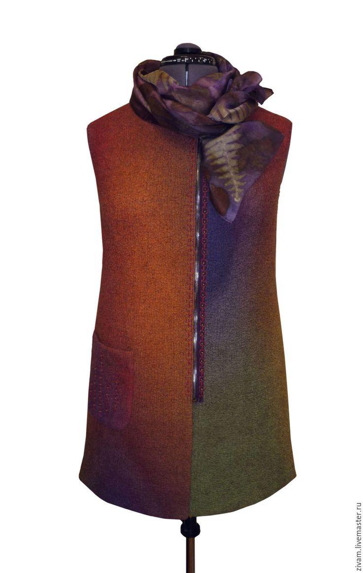 """Купить Валяный жилет """"Осенний блюз"""" нуновойлок - рыжий, Осенние цвета, зеленый цвет"""