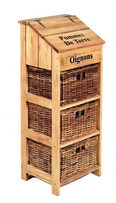 French Farmhouse Wooden Vegetable Store with 3 Large Wicker Drawers and Potato Store W35 x D31 x H90cm: Amazon.co.uk: Kitchen & Home