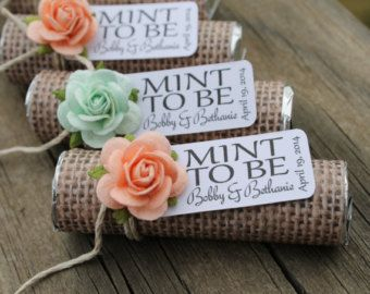 "Mint wedding favors - Set of 24 mint rolls - ""Mint to be"" favors with personalized tag - burlap, mint and peach"