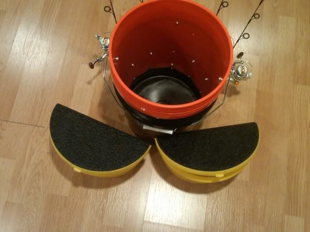 How to make bucket rod holder fishing pinterest buckets for Ice fishing bucket
