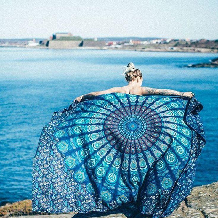 Travel Chiffon Camping Bath Pool Round Beach Towel Cover Ups Printed Tassel Square Blanket Bath Towels Beach Wear One Size