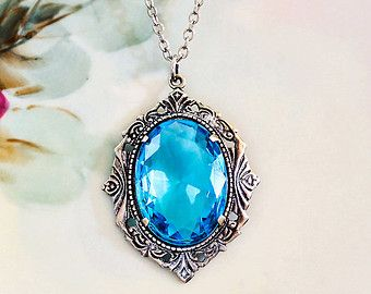Aquamarine Necklace Aqua Blue Crystal Rhinestone March Birthstone Art Deco Jewelry Wedding Something Blue Prom  Plus Size Fashion Jewelry