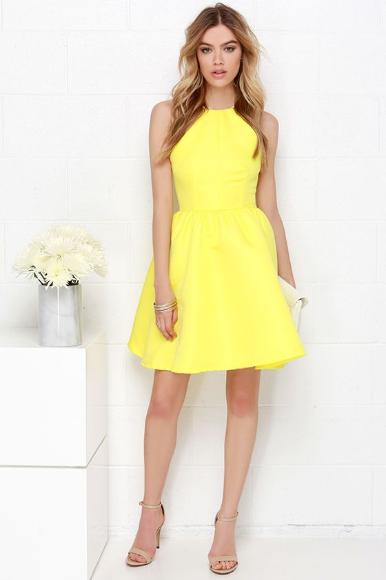 Time and time again, the Chic and Repeat Bright Yellow Backless Dress will be the one you turn to for guaranteed glamor! In a structured, woven poly, a high squared-off neckline takes shape; framed by two skinny straps that meet above a chic open back. The darted bodice offers a tantalizing fit, with a skater skirt flaring below for a bit of party-perfect volume. Hidden back zipper with clasp. Fully lined. 100% Polyester. Hand Wash Cold.