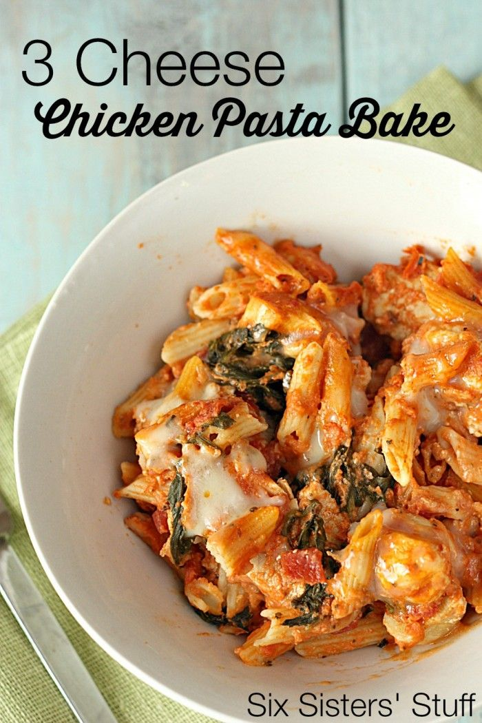 3 Cheese Chicken Pasta Bake from SixSistersStuff.com - perfect weeknight meal! Ready in about 30 minutes.