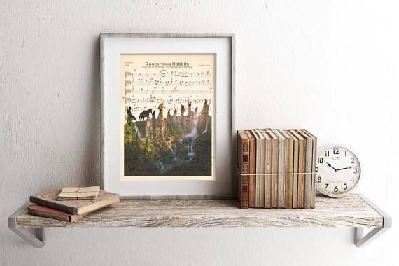 Here is a sheet music art print of the Elven Realm Rivendell in the silhouette of the Fellowship of the Ring from Lord of the Rings. This is perfect for any LotR fanatic! #artprint