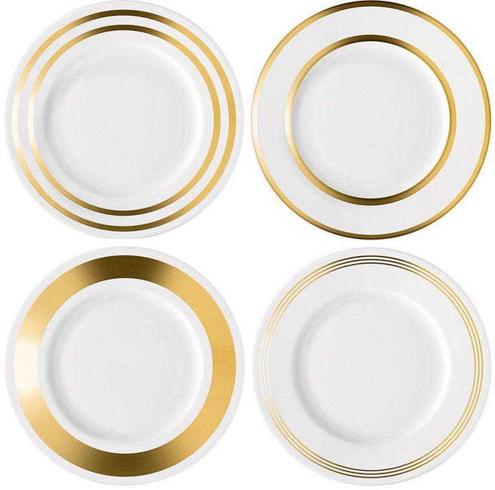 LSA International - Deco Super modern, super special dessert plates, Assorted Gold Starter/Dessert Plate - Set of 4