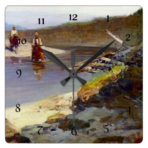 "Frank Johnson West Art ""Crossing the Smokey River"" Square Wall Clock"