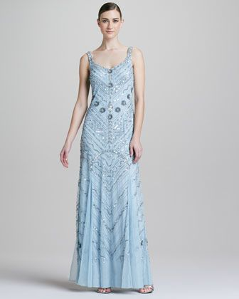 Beaded Scoop-Neck Chiffon Gown by Aidan Mattox at Neiman Marcus.