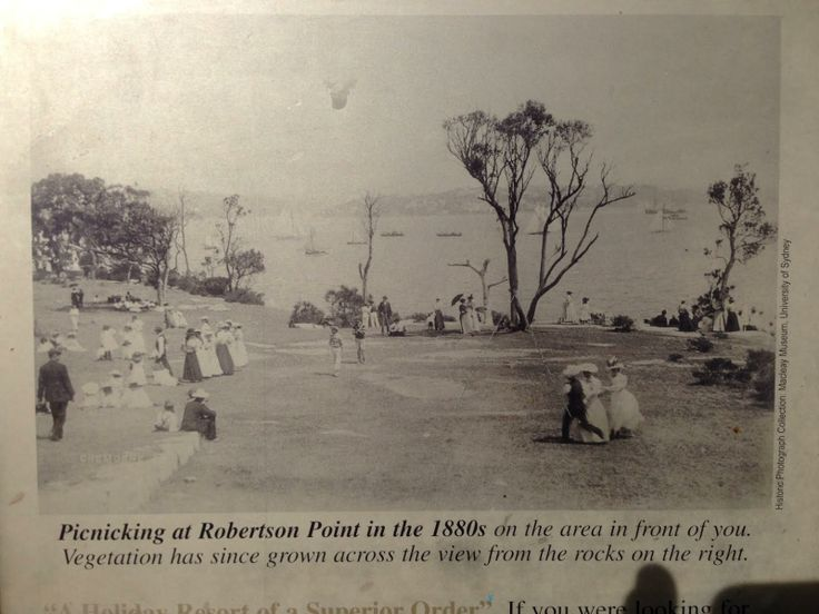 Picnicking at Robertson point, Cremorne in 1880s.