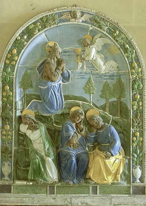 Attribué à Luca della ROBBIA le jeune Florence, 1475 - Florence ?, vers 1548  Le Christ au mont des Oliviers  Retable provenant peut-être de Barga Terre cuite émaillée H. : 2,28 m. ; L. : 1,86 m. ; Pr. : 0,21 m. LOUVRE
