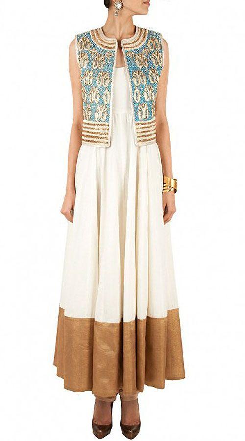 Off White Replica Koti Style Long Length Anarkali Suit 010