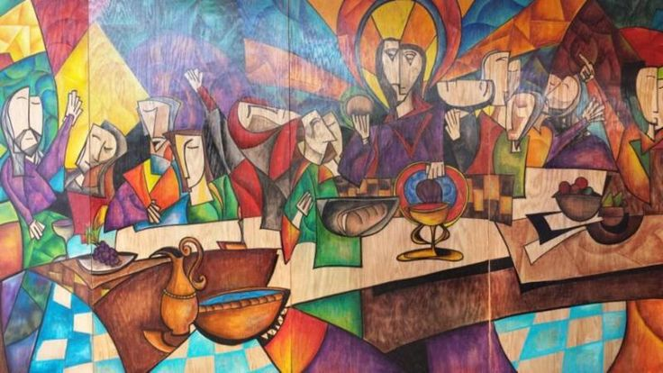 The Last Supper, modern abstract painting, acrylic on wood, by tom Panei of Butler PA. This guy is fantabulous!