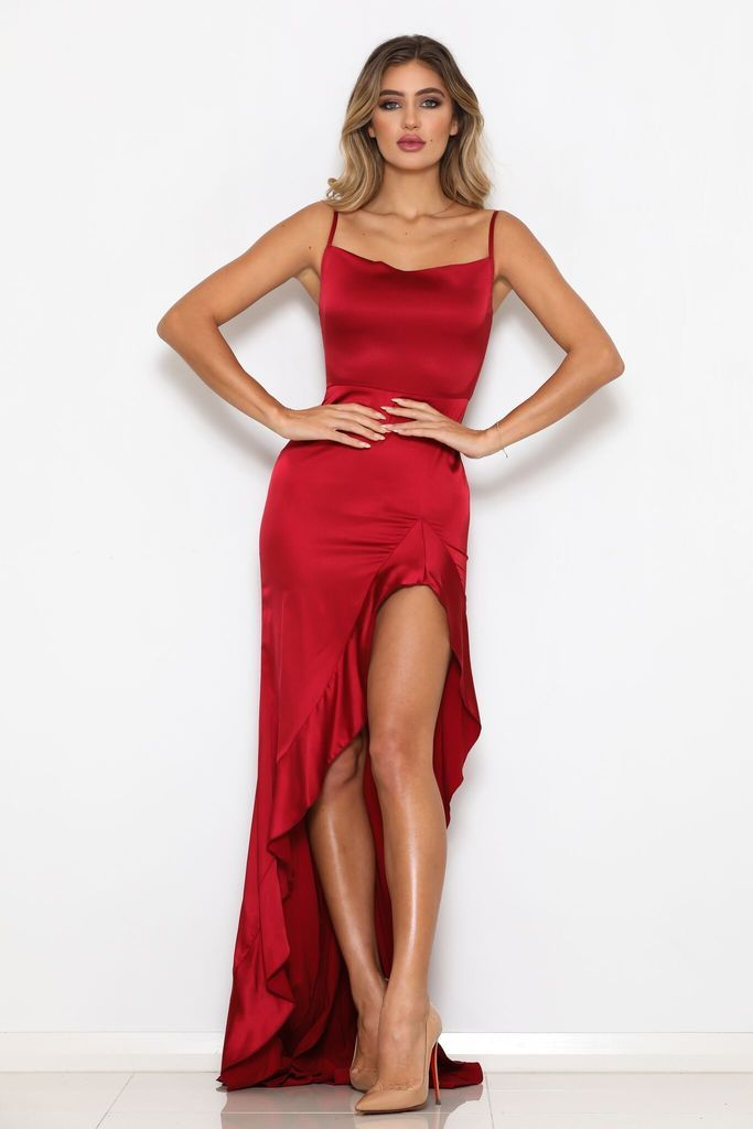 5ec0959cf1 Spaghetti Straps Stretch Satin Frill Detail Slits Red Mermaid Prom Dresses  Online