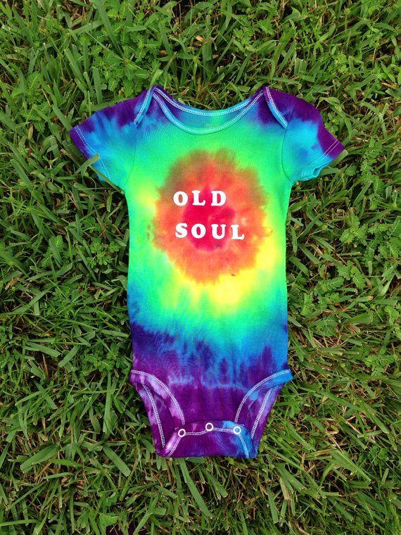 Old Soul Rainbow Tie Dye Romper/Bodysuit/ Shirt by DreamsicleDrops, $15.00