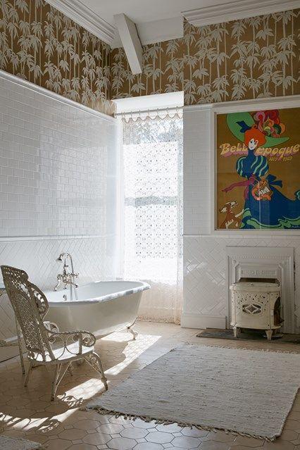 Palm tree wallpaper in Bathroom Дизайн ванной, Дизайн