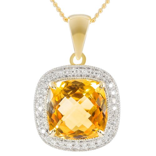 9ct Yellow Gold Antique Checkerboard Cut Citrine  Diamond Pendant only $248 - purejewels.com.au