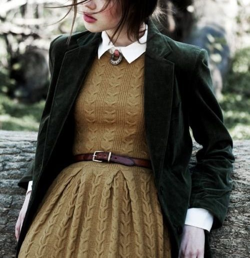 I wouldnt wear a shirt under this, but the knit mustard dress and the green velvet jacket <3 plus I really need to find a dark brown leather belt.