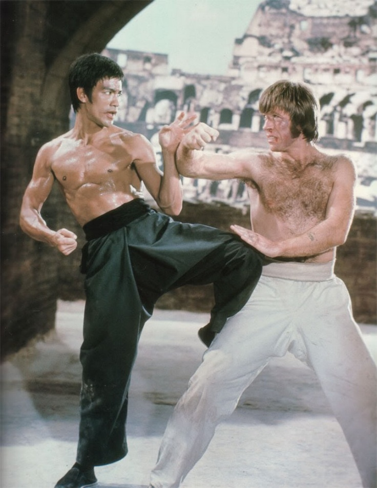 "bruce lee and chuck norris in the movie ""Way of the Dragon"""