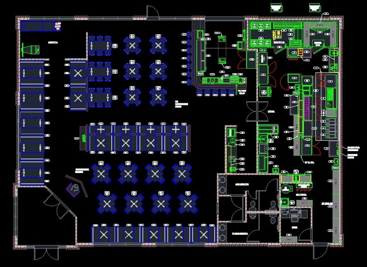 Unique autocad design and layout with dine cool
