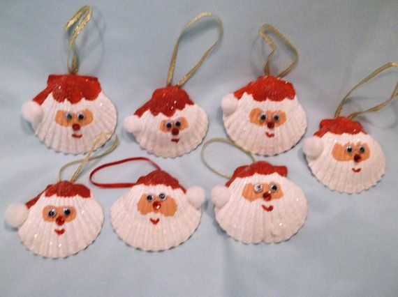 Set of two Seashell Santa Christmas Ornaments by vicscrafts, $7.00