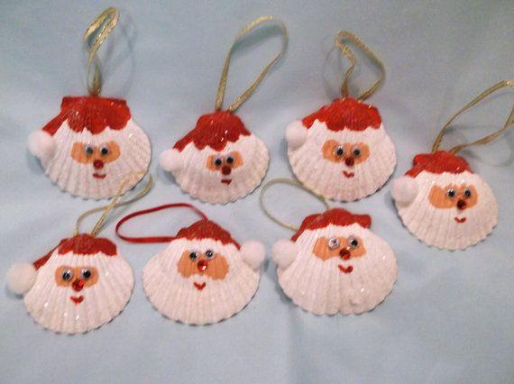 Set of two Seashell Santa Christmas Ornaments on Etsy, $7.00