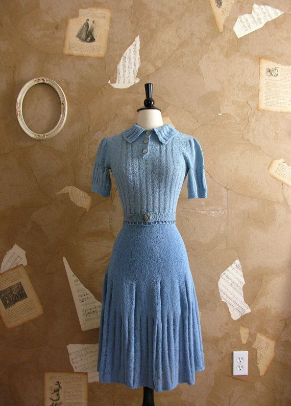 Vintage 1930s Blue and Me Forever knit Dress Set *Ugh! Why is this not in my size?!*