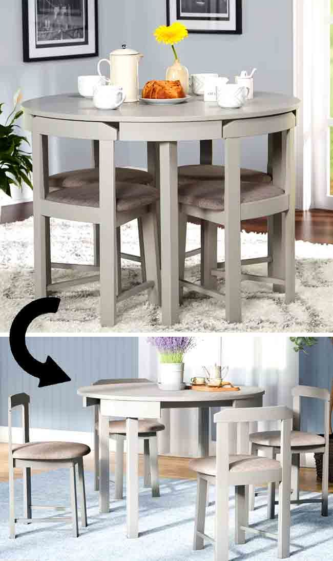 Clever Furniture For Small Spaces 17 Affordable Ideas Dining Room Small Dining Table Small Space Small Kitchen Tables